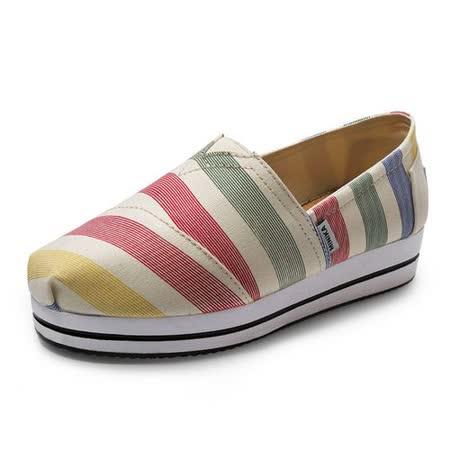 【Maya easy】帆布鞋 懶人套腳鞋 寬彩虹帆布料 彈性3.5cm 走路鞋 平底鞋
