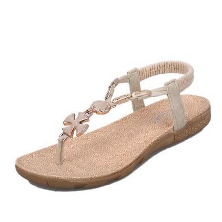 【Maya easy】克羅埃西亞風夾腳平跟涼鞋/ 海灘鞋 (米色)