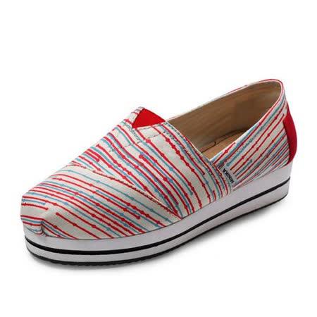 【Maya easy】帆布鞋 懶人套腳鞋 彩條細紋帆布料 彈性3.5cm 走路鞋 平底鞋
