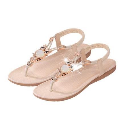【Maya easy】波希米亞風水鑽貓頭鷹平底夾腳涼鞋/海灘鞋 (米白色)