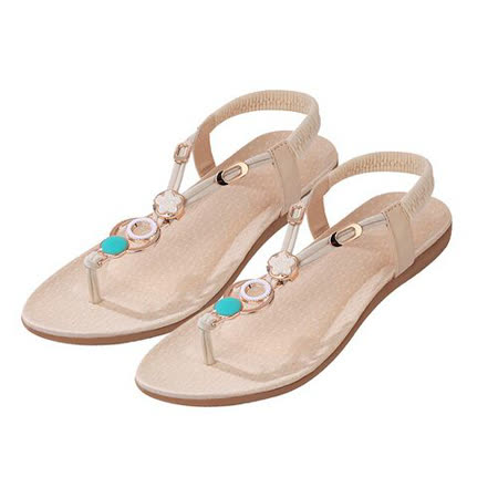 【Maya easy】S-法式浪漫扣環裝飾平底夾腳涼鞋/海灘鞋 (米白色 40碼)