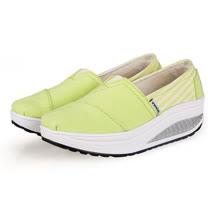 【Maya easy】增高搖擺鞋 帆布鞋 懶人套腳鞋 純色條紋拼接系列-瑩光綠色