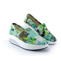 【Maya easy】增高搖擺鞋 帆布鞋 懶人套腳鞋 潑彩油色抽象藍綠配色款