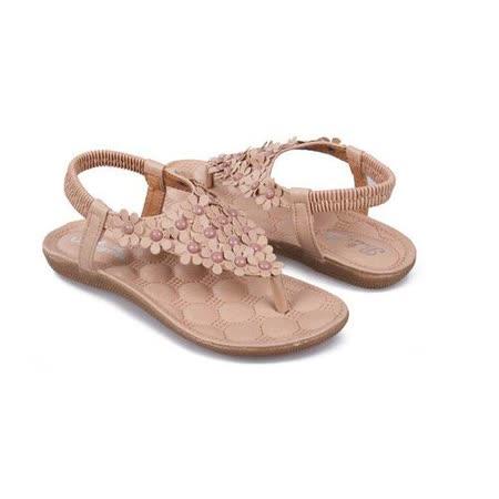 【Maya easy】朵朵花開夾腳平底涼鞋/沙灘鞋