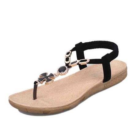 【Maya easy】克羅埃西亞風夾腳平跟涼鞋/ 海灘鞋 (黑色)