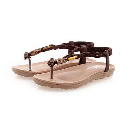 【Maya easy】波希米亞玫瑰花串珠編織夾腳平底沙灘鞋/涼鞋(棕色)