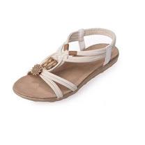 【Maya easy】埃及編織風格露趾平跟涼鞋/ 海灘鞋 (白色)