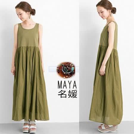 【Maya 名媛春夏】彈性綿質背心式上身棉麻透氣大圓裙擺下身視覺假二件式連衣裙-綠色