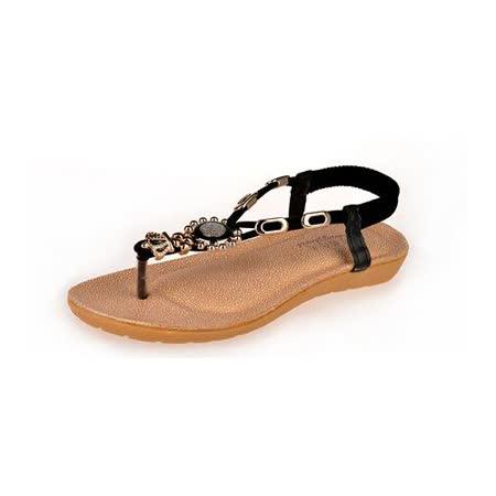 【Maya easy】希臘雅典款水鑽平跟夾腳涼鞋/沙灘鞋(黑色40碼)