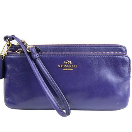 COACH 真皮雙層拉鍊長夾/手拿包(紫)