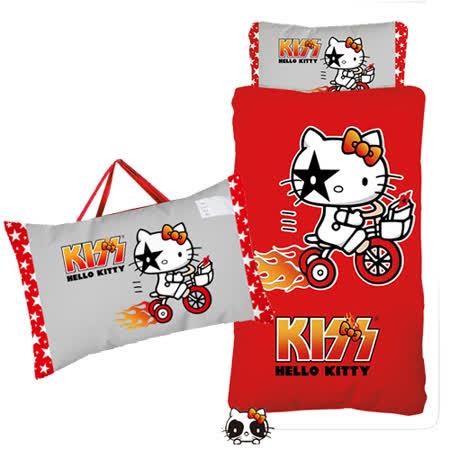 【HOLLO KITTY】凱蒂貓KISS舖棉冬夏二用兒童睡袋-熱火篇(紅)