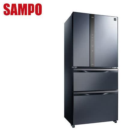 [促銷]SAMPO聲寶 560公升一級變頻玻璃鏡面四門冰箱SR-NW56DD(B3)送安裝