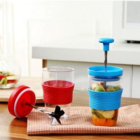 【Bunny】炫麗健康手動隨行水果榨汁機攪拌機(二入)