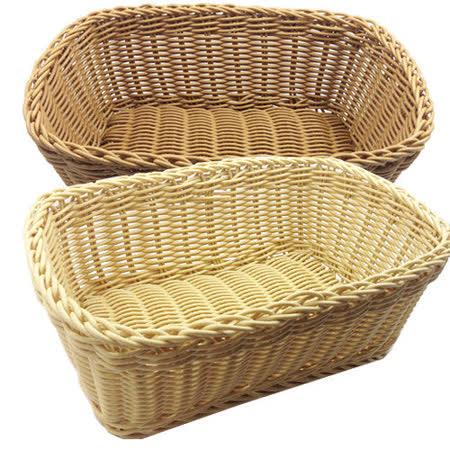 【收納職人】鄉村風收納裝飾編織置物籃PP藤編籃(角型米黃)