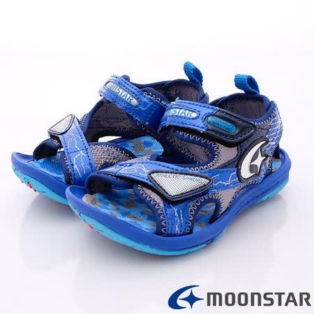 日本月星頂級競速童鞋-競速涼鞋款-SSSK6075藍(15cm-19cm)