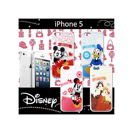 迪士尼授權正版 iPHONE 5 休閒點點透明軟式保護套 手機殼 (經典組)