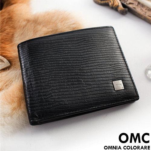 OMC ~ 韓國 牛皮木紋款真皮8卡1照固定式上下翻短夾