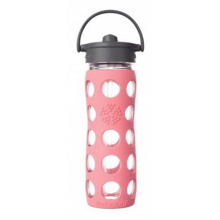 美國唯樂Lifefactory 彩色玻璃水瓶-吸管450ml珊瑚紅 LF224043