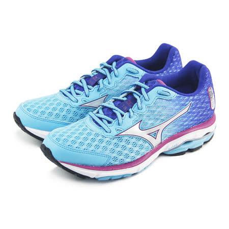 (女)MIZUNO美津濃 WAVE RIDER 18 慢跑鞋 淺藍/紫-J1GD150307