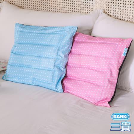 【SANKI三貴】兩用冰涼坐墊/靠枕-(寶貝藍2入)