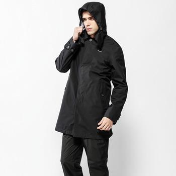 【hilltop山頂鳥】男款GoreTex 防水抗UV-長版風衣H21M05黑