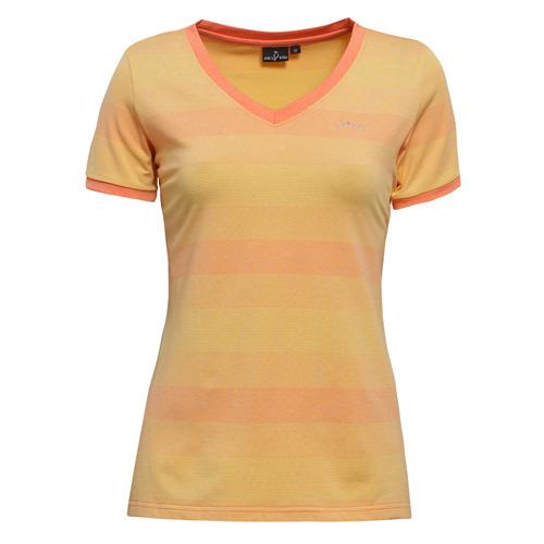【hilltop山頂鳥】女款吸濕快乾短袖T恤S04FE1-柔黃/麻花橘條紋