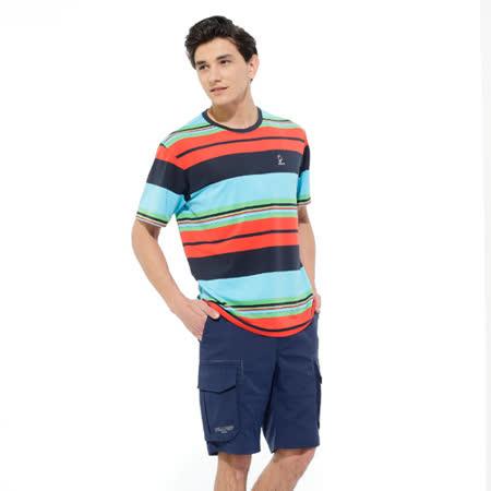 【hilltop山頂鳥】男款PUFY吸濕快乾短袖T恤S04MA2-紅/丈青條紋