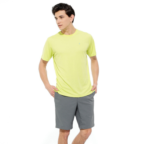 【hilltop山頂鳥】男款PUFY吸濕快乾短袖T恤S04MA4-芽綠
