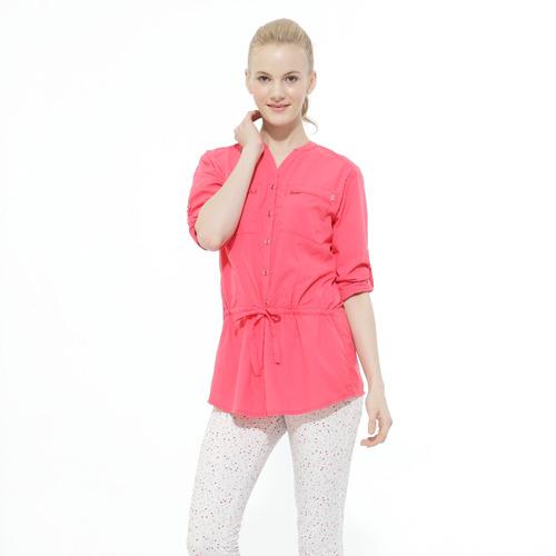 【hilltop山頂鳥】女款抗UV吸濕快乾長袖襯衫S05F59-蜜粉