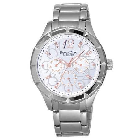 Roven Dino羅梵迪諾 信守金言時尚腕錶-白x銀x大