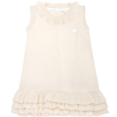 GUCCI 荷葉邊嬰幼兒針織洋裝(9/12 MONTHS)(白色)