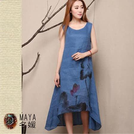 【Maya 名媛】(M~2xl)混絲棉麻用料 背心一件式不規則裙擺 藝術國墨花繪款連衣裙背心裙-藍色