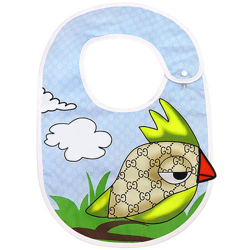 GUCCI 雙G鳥兒圖案嬰兒防水圍兜^(藍色^)