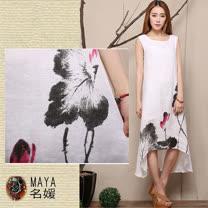 【Maya 名媛】(M~2xl)混絲棉麻用料 背心一件式不規則裙擺 藝術國墨花繪款連衣裙背心裙-白色