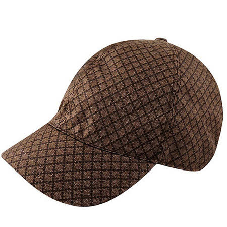 GUCCI 菱格紋Kids系列棒球帽(S)(巧克力色)