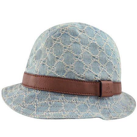 GUCCI 單寧雙G緹花Kid系列漁夫帽(S)(藍色)