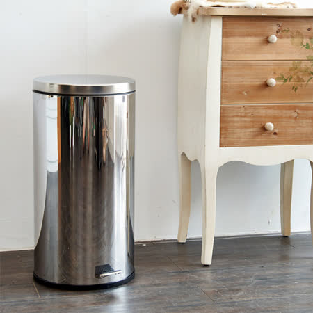 【IKLOO宜酷屋】不鏽鋼腳踏垃圾桶-30L(台灣製造)