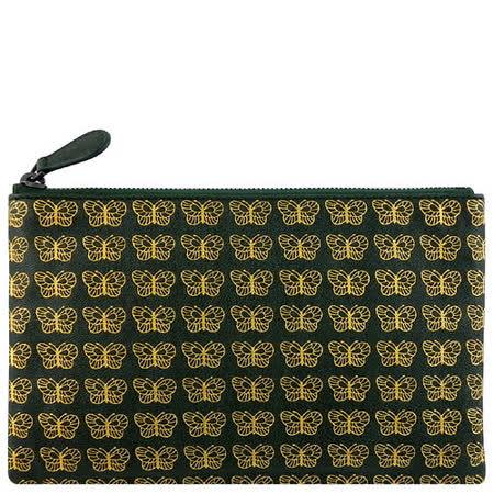 BOTTEGA VENETA 小羊皮蝴蝶圖紋手拿包/化妝包(中型)(綠色)