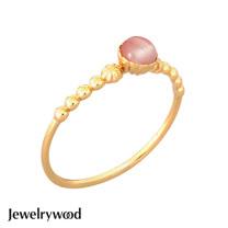 Jewelrywood 純銀拜占庭復古玫瑰石英戒指