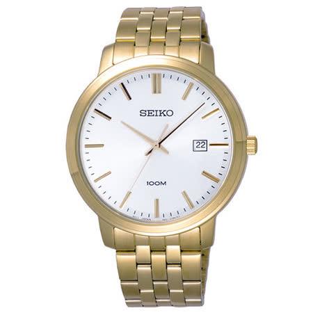 SEIKO  復刻華麗日期都會腕錶-金/大