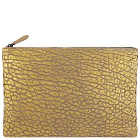 BOTTEGA VENETA 編織小羊皮蛇紋手拿包/化妝包(大型)(金色)