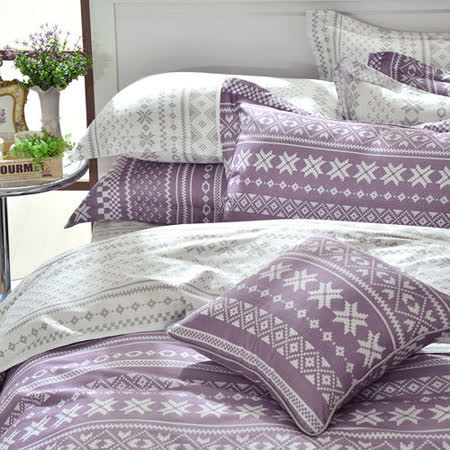 GOLDEN-TIME-烏克蘭印象-精梳棉-特大四件式兩用被床包組(紫)