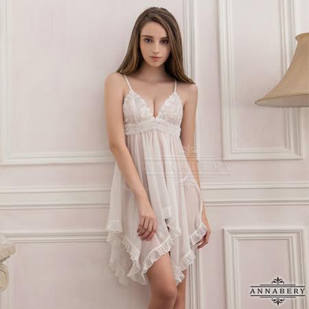 大尺碼Annabery純白透視不規則裙襬二件式睡衣L-2L