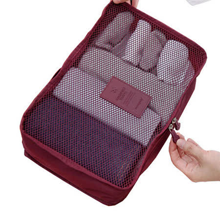 防潑水透氣網格衣物收納袋-紫紅