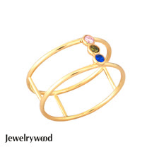 Jewelrywood 純銀波西米亞mesh幻彩雙環戒