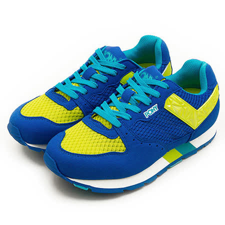 【PONY】女 繽紛韓風復古慢跑鞋 SOLA-V 彩虹系列 藍黃 52W1SO61RB