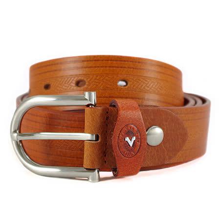 Valentino Rudy 雙線編織壓紋牛皮休閒皮帶EV6982-棕色