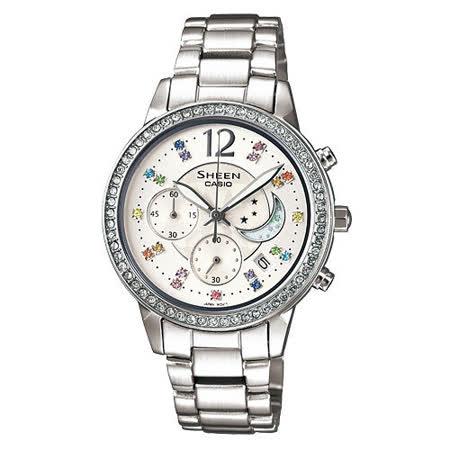 CASIO 月亮星辰女性俏麗腕錶 SHE-5018D-7A