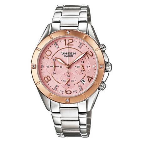 CASIO Sheen系列 新款鋼帶指針鑲鑽石英女錶 SHE-5021SG-4A