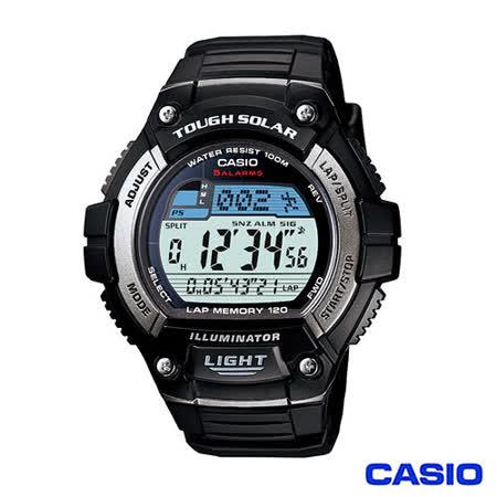CASIO 卡西歐 日系光動能多時區運動電子錶-黑 W-S220-1A